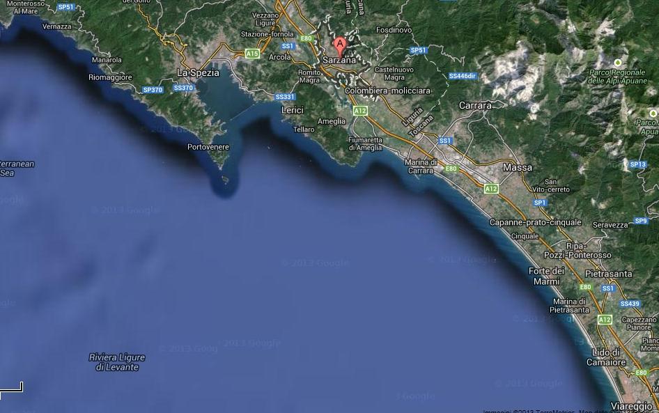 Cartina 5 Terre E Dintorni.La Spezia Sarzana E Dintorni